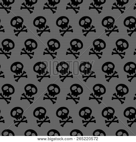 Halloween Design And Decoration. Black Skull And Bones Crossed. Vector Illustration. Seamless Gray B