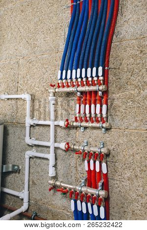 manifold collector with pipes in boiler room poster