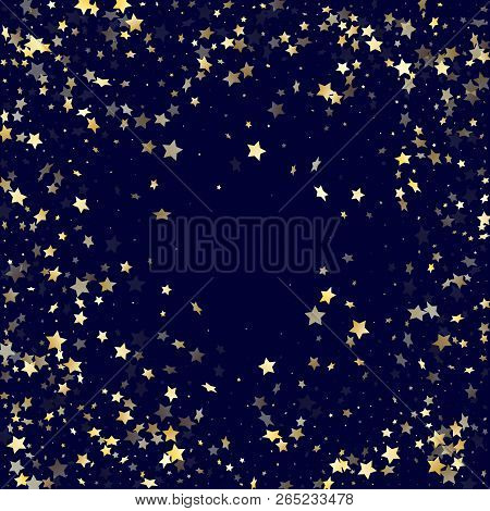 Gold Falling Star Sparkle Elements Of Glitter Gradient Vector Background. Holiday Confetti Gold Star