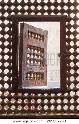 Wooden Latticed Window (mashrabiya) With One Small Swinging Sash, Cairo, Egypt