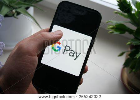 Rzeszow, Poland - 25/10/2018 -  Google Pay/ Gpay Logo App On  Samsung Phone Screen