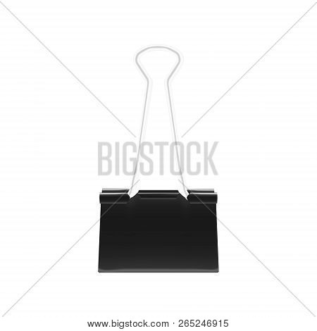 Clamp For Paper. Black Metal Binder Clip Isolated On White Background