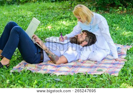Family Spend Leisure Outdoors Work Laptop. How To Balance Freelance And Family Life. Stories Of Endu