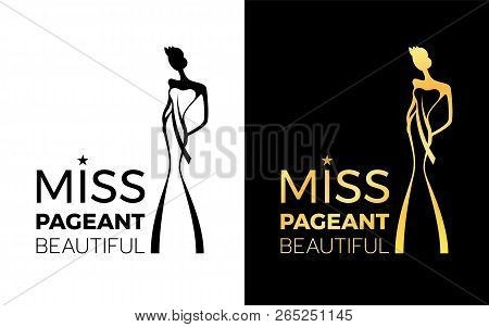 Miss Pageant Beatiful Logo Sign With Woman Wear A Crown And Sash Sign Vector Design