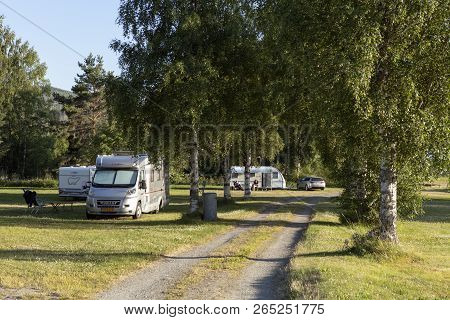 Borgsjo, Sweden On July 05. View Of The Camping And Its Park On July 05, 2018 In Borgsjo, Sweden. Ca