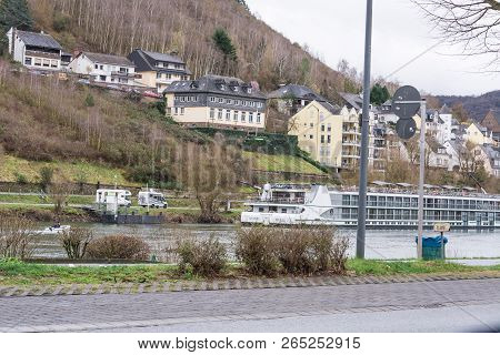 Cochem, Germany - March 27, 2016: River Cruises With Cruise Ship Viking Modi On The Moselle Near Coc