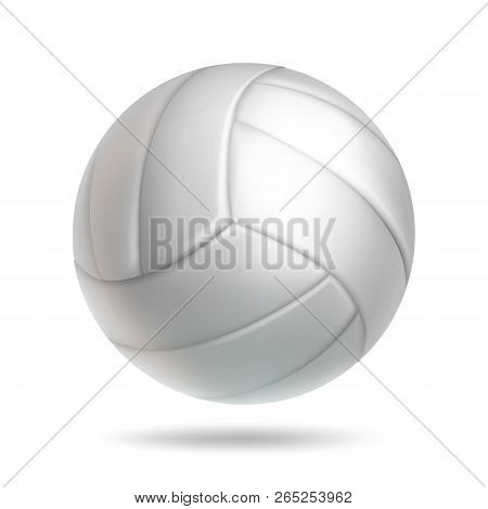 Realistic White Volleyball Ball With Shadow. Sports Equipment For Team Game Vector Illustration. Lea