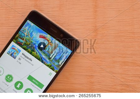 Bekasi, West Java, Indonesia. October 27, 2018 : Megapolis Dev App On Smartphone Screen. Megapolis I