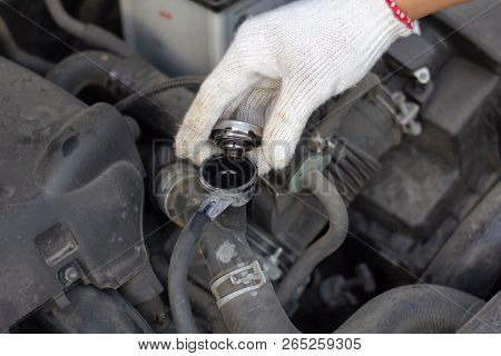 Mechanic Man Checking Radiator Cooling Tank. Driver Check The Car Engine Ready, Safety Before Depart