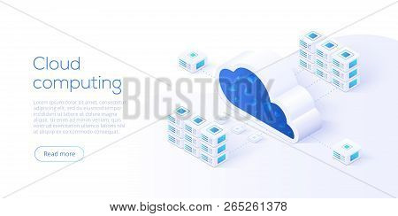 Cloud Storage Download Isometric Vector Illustration. Digital Service Or App With Data Transfering.