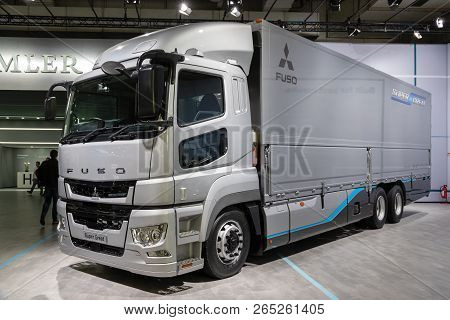 Hannover, Germany - Sep 27, 2018: Mitsubishi Fuso Super Great Heavy-duty Commercial Truck Showcased