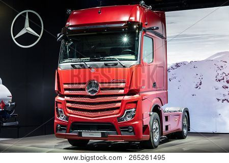 Hannover, Germany - Sep 27, 2018: New 2019 Mercedes Actros 1853 Sleeper Truck Debut At The Hannover
