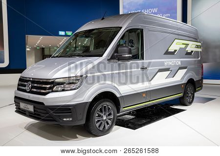 Hannover, Germany - Sep 27, 2018: New Volkswagen Hydrogen-powered Crafter Hymotion Concept Van Showc