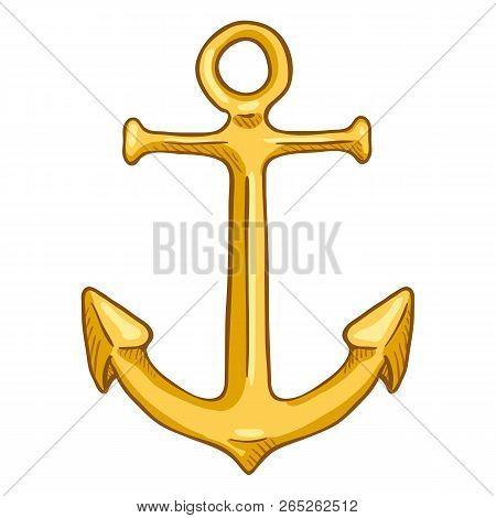 Vector Single Cartoon Color Illustration - Golden Marine Boat Anchor
