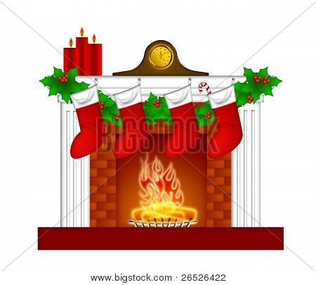Fireplace Christmas Decoration Wth Stockings And Garland
