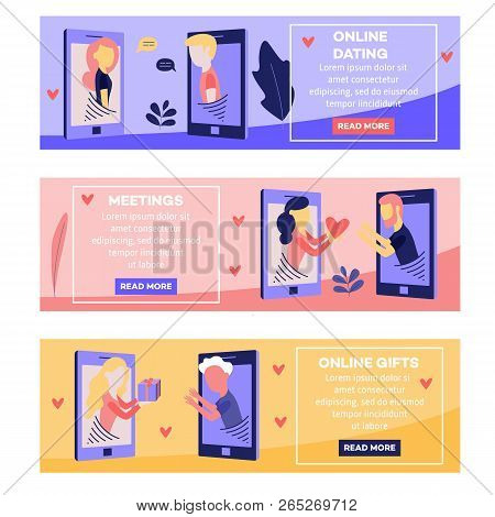 Vector Love Chat, Online Dating Banners Set