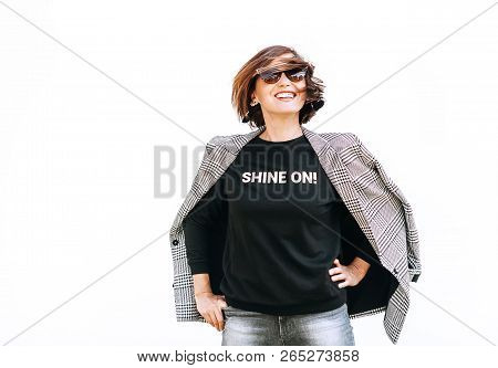 Free Feeling Happy Smiling Woman Posing In Black Sweatshirt With Positive Print And Chackered Jaket