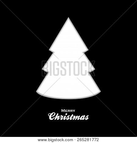 White Silhouette Of Christmas Tree Over Black Background With Decorative Text