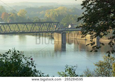 Elbe Bridge In Germany In The Morning