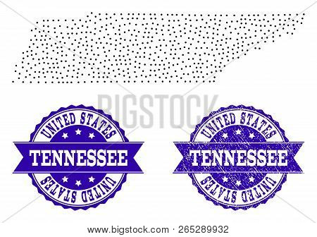 Dotted Black Map Of Tennessee State And Blue Rubber Stamp. Vector Map Of Tennessee State Constructed