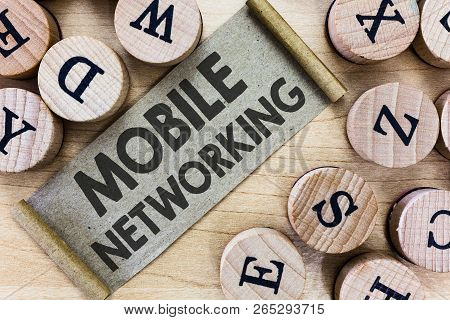 Text Sign Showing Mobile Networking. Conceptual Photo Communication Network Where The Last Link Is W