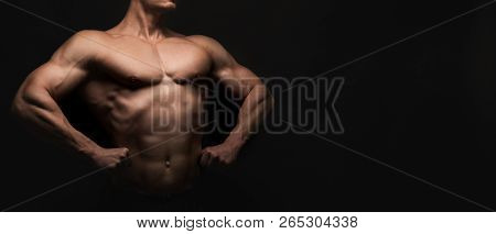 Strong Athletic Man. Handsome Male Fitness Model Showing Naked Torso, Muscular Body. Strong Hands, C