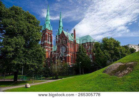 St. John's Church (Johanneksenkirkko), a Lutheran church in the Gothic Revival style, Helsinki, Finland poster