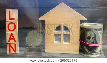Miniature Wooden House, Dollars And The Inscription