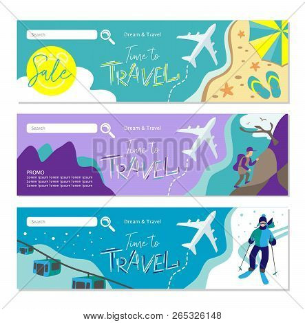 Travel Banner For Web Site. Set Of Vector Template Design. Tourism. Summer Tours, Extreme Tours, Win