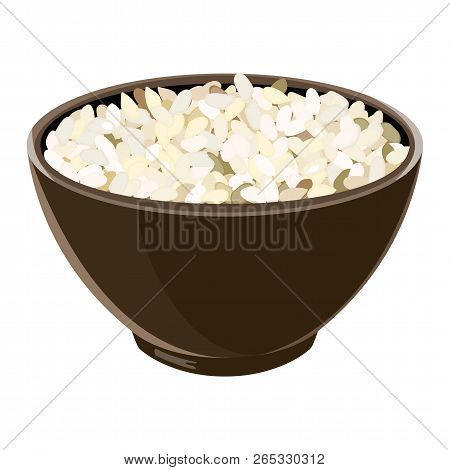 Pile Of Boiled Arborio Risotto Rice In Brown Ceramic Bowl. Vector Illustration.