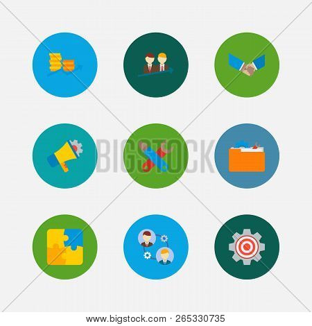 Partnership Icons Set. Handshake And Partnership Icons With Collaboration, Marketing And Successful