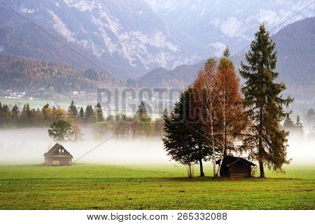 Mountain chalet in morning misty light, Austria, Europe
