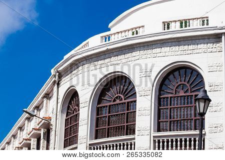 Beautiful colonial building located at the walled city in Cartagena de Indias poster
