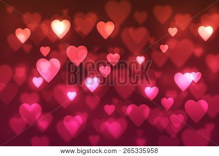 Abstract, Background, Background, Spot, Blurred, Bokeh Background ,with Red Hearts, Bokeh, Bright, H