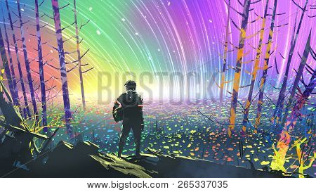 Scenery Of The Explorer Looking At Flower Fields In Colorful Planet, Digital Art Style, Illustration