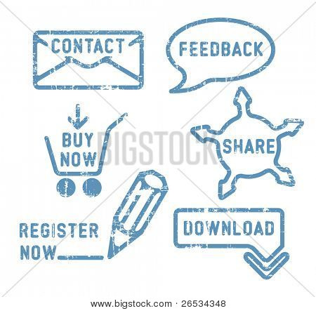 Simple blue vector contact, feedback, share, buy, download, register stamps