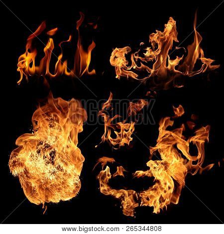 Set of fire flames isolated on black background
