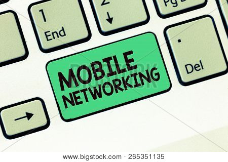 Writing Note Showing Mobile Networking. Business Photo Showcasing Communication Network Where The La