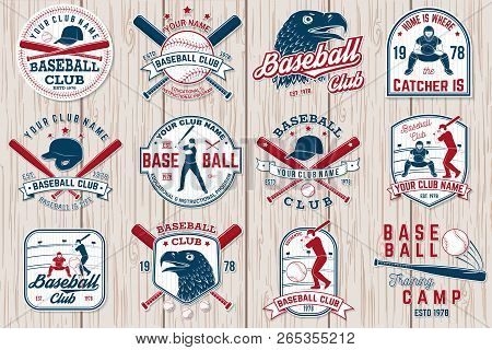 Set Of Baseball Or Softball Club Badge. Vector. Concept For Shirt Or Logo, Print, Stamp Or Tee. Vint