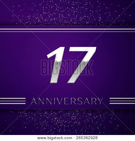 Realistic Seventeen Years Anniversary Celebration Design Banner. Silver Number And Confetti On Purpl
