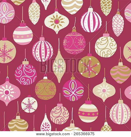 Christmas Vintage Ornaments Pink, Gold, Beige Seamless Vector Pattern Background. Repeated Retro Chr