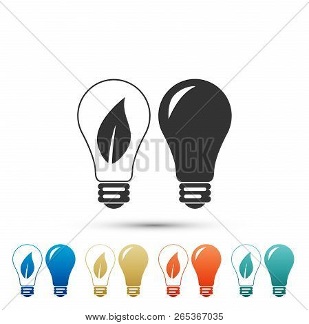 Classic Lamp And Light Bulb With Leaf Inside Icon Isolated On White Background. Lighting Electric La