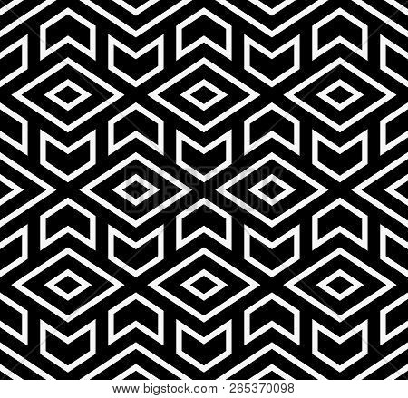 The Geometric Pattern With Lines. Seamless Background. White And Black Texture. Graphic Modern Patte