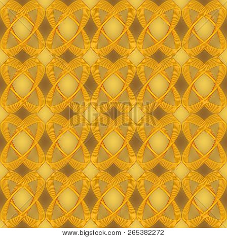 Golden Brocade Abstract Seamless Background With Semitransparent Ovals, Luxurious Textile Design Wit