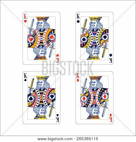 Set Of King Playing Card With Different Suits Like Diamonds, Clubs, Hearts And Spades Isolated On Wh