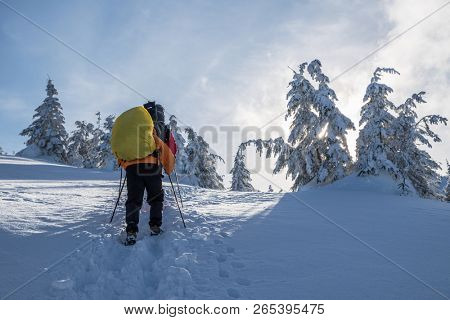 Winter hiking. Tourists are hiking in the snow-covered mountains. Beautiful winter landscape in the mountains.