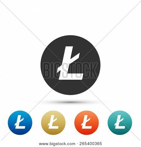 Cryptocurrency Coin Litecoin Ltc Icon Isolated On White Background. Physical Bit Coin. Digital Curre