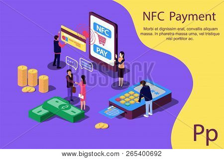 Concept Nfc Payment Pos Terminals With Phone And Credit Card For Social Media, Documents, Web Page.