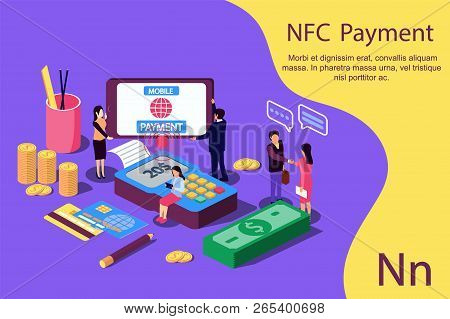 Contactless Payment Concept For Web Page, Documents, Social Media. Vector Illustration Terminal And