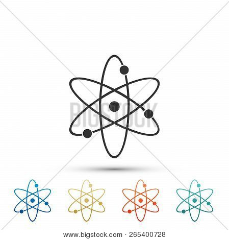 Atom Icon Isolated On White Background. Symbol Of Science, Education, Nuclear Physics, Scientific Re